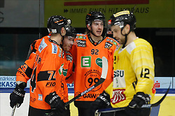 17.01.2020, Merkur Eisstadion, Graz, AUT, EBEL, Moser Medical Graz 99ers vs Vienna Capitals, 41. Runde, im Bild von links Daniel Oberkofler (Moser Medical Graz 99ers), Ken Ograjensek (Moser Medical Graz 99ers), Charles Dodero (Moser Medical Graz 99ers) und Alex Wall (Vienna Capitals) // from l to r Daniel Oberkofler (Moser Medical Graz 99ers) Ken Ograjensek (Moser Medical Graz 99ers) Charles Dodero (Moser Medical Graz 99ers) and Alex Wall (Vienna Capitals) during the Erste Bank Eishockey League 41th round match between Moser Medical Graz 99ers and Vienna Capitals at the Merkur Eisstadion in Graz, Austria on 2020/01/17. EXPA Pictures © 2020, PhotoCredit: EXPA/ Erwin Scheriau
