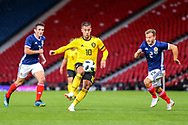 Eden Hazard (#10) of Belgium controls the ball in the midfield during the International Friendly match between Scotland and Belgium at Hampden Park, Glasgow, United Kingdom on 7 September 2018.