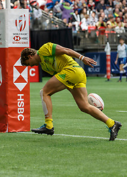 March 10, 2018 - Vancouver, British Columbia, U.S. - VANCOUVER, BC - MARCH 10: Lewis Holland (#4) of Australia scores between the posts during Game # 15- Australia vs Uruguay Pool A match at the Canada Sevens held March 10-11, 2018 in BC Place Stadium in Vancouver, BC. (Photo by Allan Hamilton/Icon Sportswire) (Credit Image: © Allan Hamilton/Icon SMI via ZUMA Press)