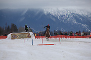 horse during the opening ceremoneis at the World Skijoring Championships in Whitefish, Montana on Sunday, January 29. <br /> <br /> Skijoring originated in Scandinavia about 700 years ago, when it was a means of transport during the winter months, but arrived in North America as a recreational pastime in the 1950s. It is now a specialized competitive sport, practiced in at least five different states and several countries, accodring to World Skijoring Championships organizers.<br /> (REUTERS/Matt Mills McKnight (UNITED STATES)
