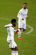 Nathan Dyer of Swansea city celebrates after he scores his teams 2nd goal .  The Emirates FA Cup, 4th round replay match, Swansea city v Notts County at the Liberty Stadium in Swansea, South Wales on Tuesday 6th February 2018.<br /> pic by  Andrew Orchard, Andrew Orchard sports photography.