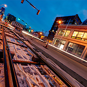 Laying of streetcar line track in the Crossroads District area of downtown Kansas City, Missouri near 19th & Main Streets.