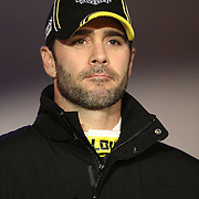 NASCAR Sprint Cup driver Jimmie Johnson is seen during the driver introductions prior to the NASCAR Sprint Unlimited Race at Daytona International Speedway on Saturday, February 16, 2013 in Daytona Beach, Florida.  (AP Photo/Alex Menendez)
