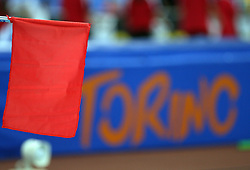 Red flag at the 1st day of  European Athletics Indoor Championships Torino 2009 (6th - 8th March), at Oval Lingotto Stadium,  Torino, Italy, on March 6, 2009. (Photo by Vid Ponikvar / Sportida)