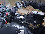 The cold weather forced Bill to break out the heated gear, resulting in a rats nest of wires on his bike.