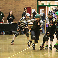 Manchester Roller Derby's Chaos Engine take on Leeds' Aire Force 1 in the opening bout at George H Carnall Leisure Centre, Urmston, Manchester, 2015-04-11