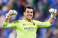 Andres Fernandez of SD Huesca reacts during the La Liga Smart Bank match that will face SD Huesca and SD Eibar at El Alcoraz on Aug 13, 2021 in Huesca, Spain.