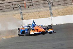 September 14, 2018 - Sonoma, CA, U.S. - SONOMA, CA - SEPTEMBER 14: Scott Dixon spews sand after getting close to the infield during the Verizon IndyCar Series practice for the Grand Prix of Sonoma on September 14, 2018, at Sonoma Raceway in Sonoma, CA. (Photo by Larry Placido/Icon Sportswire) (Credit Image: © Larry Placido/Icon SMI via ZUMA Press)