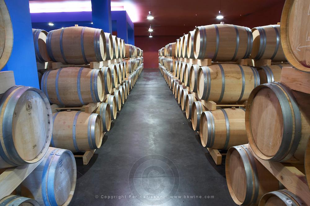 barrel aging cellar chateau belgrave haut medoc bordeaux france