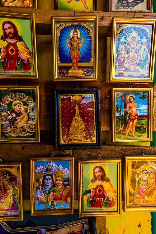Iconic images of Hindu and Christian deities,  Trincomalee, Eastern Province, Sri Lanka.
