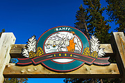 Entrance sign at Sulpher Mountain Hot Springs, Banff National Park, Alberta, Canada