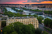 The river Seine and some of the many bridges that crosses it as it snakes its way through Paris, France