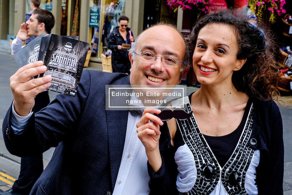 Edinburgh Scotland 7th August 2016 :: Performers from Fringe shows entertain in the High Street to promote their shows.<br /> <br /> Pictured: performers from Shhhhhhh! Improvised Silent Movie<br /> <br /> (c) Andrew Wilson   Edinburgh Elite media