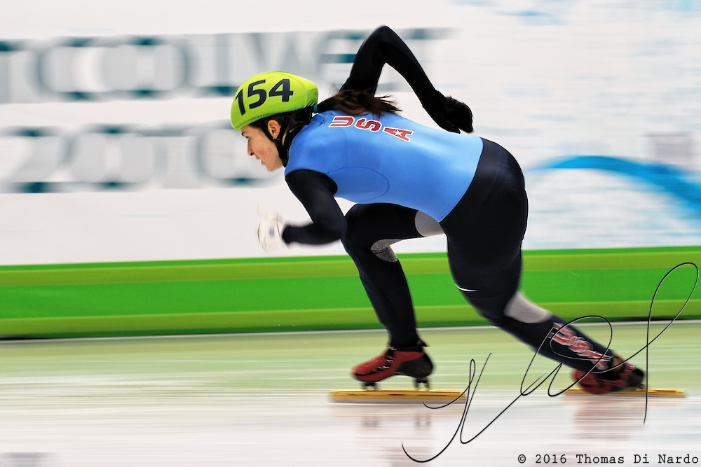 February 13, 2009 - 2010 Winter Olympics - Vancouver, Canada - Kimberly Derrick competes in 3000m Women's Relay event during Short Track Speed Skating preliminary competition held at the Pacific Coliseum during the 2010 Winter Olympic Games.