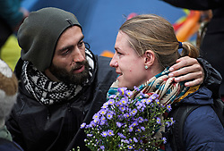 © Licensed to London News Pictures. 08/10/2019. London, UK. Two Extinction Rebellion activists look emotional as they listen to a speech outside the Home Office in Westminster. Activists have converged on Westminster for a second day, blockading roads in the area and calling on government departments to 'Tell the Truth' about what they are doing to tackle the Emergency. Photo credit: Ben Cawthra/LNP