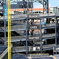 Pittsburgh Pirates displays a Black Lives Matter banner from the left field rotunda at PNC Park on Monday, July 27, 2020 in Pittsburgh. The Pirates hosts the Milwaukee Brewers for their home opener. Photo by Archie Carpenter/UPI