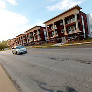 Renovations underway of old Colonnade-style apartment buildings in the Beacon Hill area of Kansas City, Missouri.