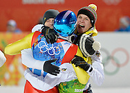 Germany's Andreas Wank (L-R), Severin Freund, Andreas Wellinger and Marinus Kraus celebrate after winning a gold medal during the men's team ski jumping event at the Sochi 2014 Winter Olympics on February 17, 2014 in Krasnaya Polyana, Russia. Germany finished with a total score of 1041.1 points.  (UPI)