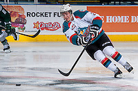 KELOWNA, CANADA - JANUARY 22: Jesse Lees #2 of the Kelowna Rockets moves the puck up the ice against the Everett Silvertips on January 22, 2014 at Prospera Place in Kelowna, British Columbia, Canada.   (Photo by Marissa Baecker/Getty Images)  *** Local Caption *** Jesse Lees;