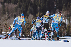 28.02.2021, Oberstdorf, GER, FIS Weltmeisterschaften Ski Nordisch, Oberstdorf 2021, Herren, Langlauf, Teamsprint, Freestyle, im Bild v.l.: Federico Pellegrino (ITA), Richard Jouve (FRA) // f.l.: Federico Pellegrino of Italy, Richard Jouve of France during men Cross Country team sprint freestyle competition of the FIS Nordic Ski World Championships 2021 in Oberstdorf, Germany on 2021/02/28. EXPA Pictures © 2021, PhotoCredit: EXPA/ Dominik Angerer