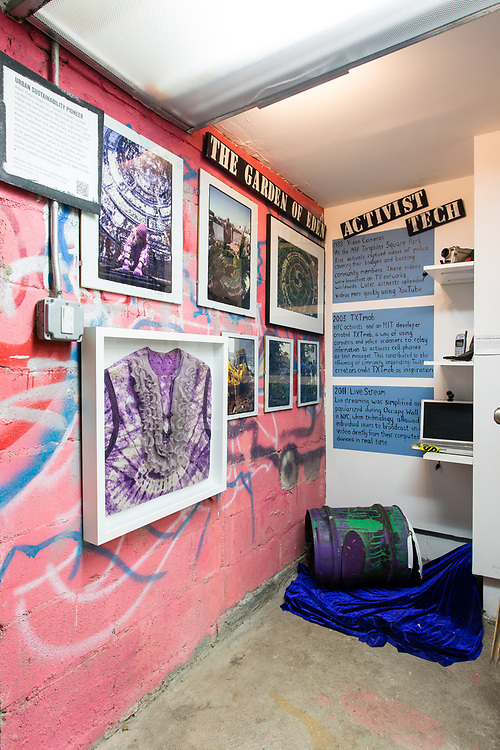 Exhibits in the Museum of Reclaimed Urban Space, housed in a former squat in New York's Alphabet City.