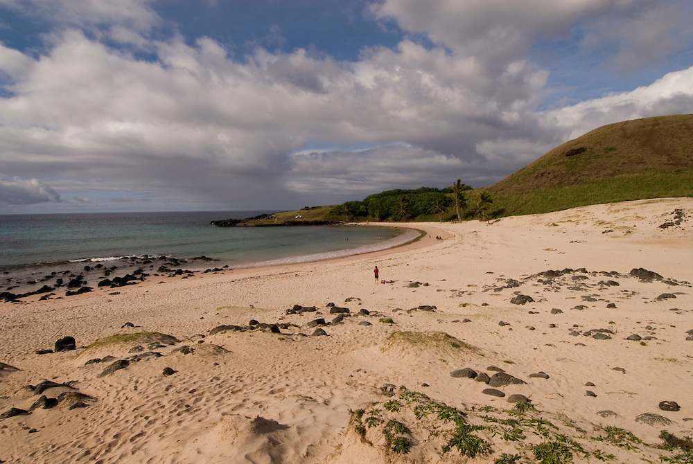 Chile, Easter Island: Anakena Beach, a white coral sand beach with palm trees and several restored moai or statues..Photo #: ch285-33865.Photo copyright Lee Foster www.fostertravel.com lee@fostertravel.com 510-549-2202