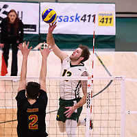 4th year outside hitter Brennan Goski (13) of the Regina Cougars in action during the Women's Volleyball Home Game vs U of C Dinos on October21 at the CKHS University of Regina. Credit Arthur Ward/©Arthur Images 2017