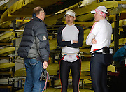 Reading, UNITED KINGDOM.  Left to Right, Coach Paul THOMPSON, centre, Victoria THORNLEY and Right, Fran HOUGHTON, after their morning  training session, GBR Media Day, Redgrave and Pinsent Rowing Lake. GB Rowing Training Base, Caversham, Berks. Wednesday   19/03/2014 [Mandatory Credit: Peter Spurrier/Intersport Images]