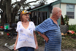 August 28, 2017 - Fulton, TX, USA - Linda and William Hart rode out Hurricane Harvey in their trailer near Bronte Street in Fulton, Texas. On Monday, Aug. 28, 2017, they described living through the hurricane and said they held hands just praying they would survive it. (Credit Image: © Rachel Denny Clow/TNS via ZUMA Wire)