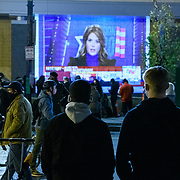 Protesters from occupy DC and Black Lives matter protest at BLM plaza, November 3, 2020. Thousands gathered around DC as results of the election are broadcasted.