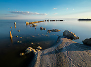 Limited of Edition of 17<br /> Bombay Beach Salton Sea  California. <br /> Remnants of an old dock stubbornly remain in the saline waters of the Salton Sea at 226 ft (69 m) below sea level in California's
