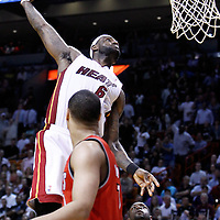 08 March 2011: Miami Heat small forward LeBron James (6) dunks the ball  during the Portland Trail Blazers 105-96 victory over the Miami Heat at the AmericanAirlines Arena, Miami, Florida, USA.