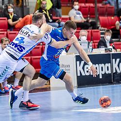 Jerome Mueller (TVB Stuttgart #27) ; Tim Kneule (FRISCH AUF! Goeppingen #4) ; Jerome Mueller (TVB Stuttgart #27) ; Tim Kneule (FRISCH AUF! Goeppingen #4) ; LIQUI MOLY HBL 20/21  1. Handball-Bundesliga: TVB Stuttgart - FRISCH AUF! Goeppingen am 24.04.2021 in Stuttgart (SCHARRena), Baden-Wuerttemberg, Deutschland beim Spiel in der Handball Bundesliga, TVB 1898 Stuttgart - FRISCH AUF! Goeppingen.<br /> <br /> Foto © PIX-Sportfotos *** Foto ist honorarpflichtig! *** Auf Anfrage in hoeherer Qualitaet/Aufloesung. Belegexemplar erbeten. Veroeffentlichung ausschliesslich fuer journalistisch-publizistische Zwecke. For editorial use only.