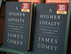 April 17, 2018 - Los Angeles, California, U.S - Copies of the book by Former FBI director, James Comey titled a Higher Loyalty went on sale today Tuesday April, 17, 2018 at the Barnes and Noble bookstore at The Grove in Los Angeles, California. (Credit Image: © Prensa Internacional via ZUMA Wire)