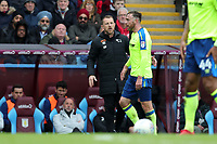 Aston Villa v Derby County - Sky Bet Championship<br /> BIRMINGHAM, ENGLAND - APRIL 28 :  derby County manager, Gary Rowett, talks with Richard Keogh during the match