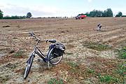Nederland, Groesbeek, 28-9-2018Uien worden geoogst op een akker . Trekkers rijden bij elkaar om het landbouwproduct mechanisch binnen te halen. De uien die achterblijven op de grond worden door mannen weggehaald . Die hebben op deze manier een goedkoop partijtje uien kunnen binnenhalen Foto: Flip Franssen