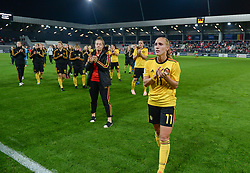 October 9, 2018 - Biel, SWITZERLAND - Belgium's Janice Cayman look dejected after and thanking the fans after a soccer game between Switzerland and Belgium's national team the Red Flames, Tuesday 09 October 2018, in Biel, Switzerland, the return leg of the play-offs qualification games for the women's 2019 World Cup. BELGA PHOTO DAVID CATRY (Credit Image: © David Catry/Belga via ZUMA Press)