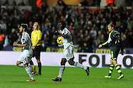 Swansea's Wilfried Bony © celebrates after he scores his sides 1st goal with a header to make it 1-2.  Barclays Premier league, Swansea city v Stoke city at the Liberty Stadium in Swansea, South Wales on Sunday 10th November 2013. pic by Andrew Orchard, Andrew Orchard sports photography,
