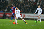 Leon Britton of Swansea city makes a break. Barclays Premier league match, Swansea city v Crystal Palace at the Liberty Stadium in Swansea, South Wales on Saturday 6th February 2016.<br /> pic by Andrew Orchard, Andrew Orchard sports photography.