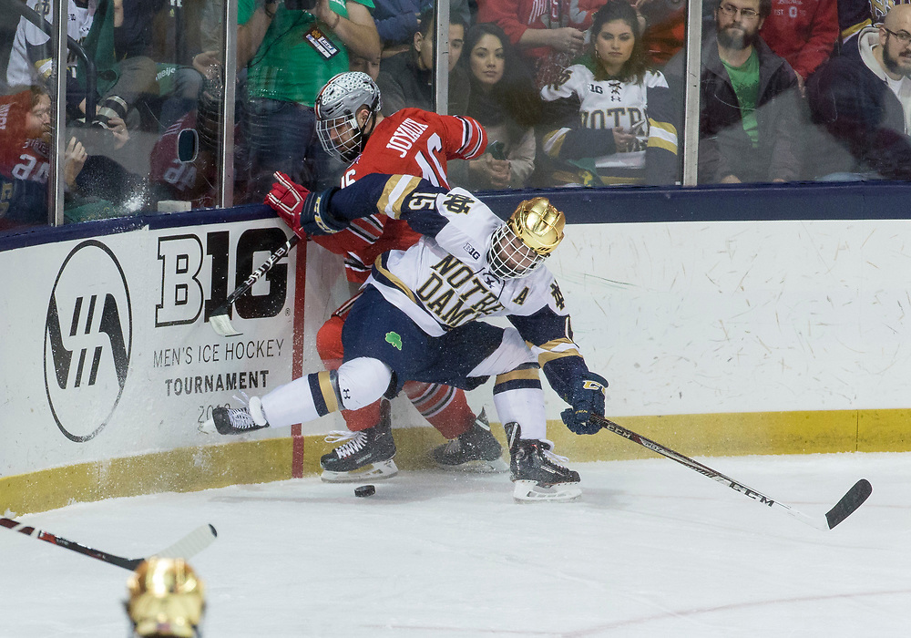 March 17, 2018:  Notre Dame forward Andrew Oglevie (15) and Ohio State defenseman Matt Joyaux (46) battle along the boards during NCAA Hockey game action between the Notre Dame Fighting Irish and the Ohio State Buckeyes at Compton Family Ice Arena in South Bend, Indiana.  Notre Dame defeated Ohio State 3-2 in overtime.  John Mersits/CSM