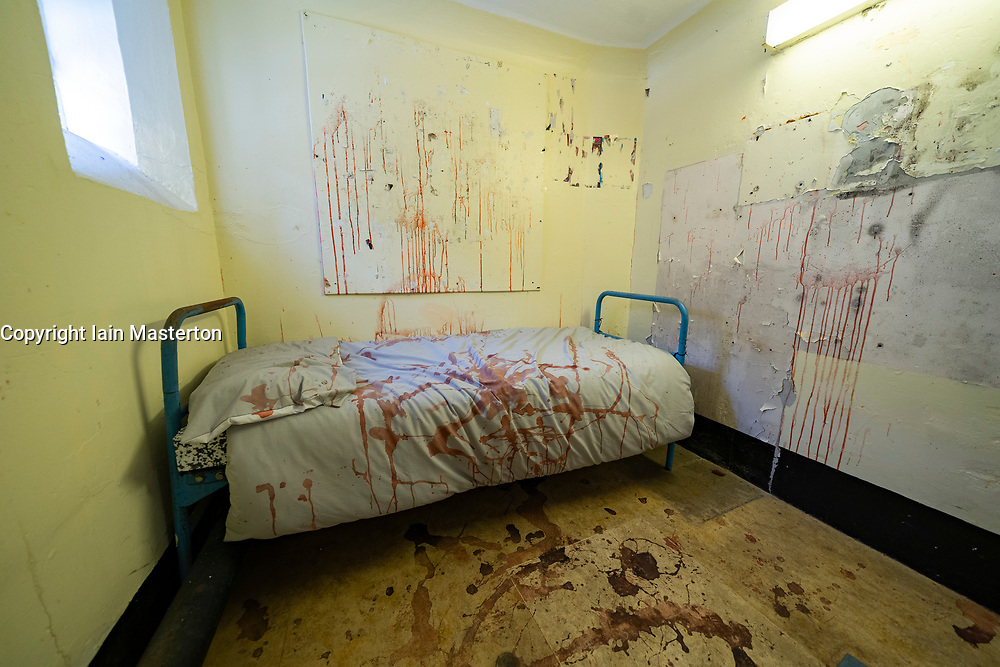 View of prisoner cell display after brutal attack  at Peterhead Prison Museum in Peterhead, Aberdeenshire, Scotland, UK