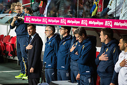 March 22, 2019 - Lisbon, Portugal - Andriy Shevchenko, coach of the Ukrainian team singing the anthem of his country during the Qualifiers - Group B to Euro 2020 football match between Portugal vs Ukraine. (Credit Image: © Henrique Casinhas/SOPA Images via ZUMA Wire)