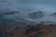Sunset fades into mist over Upper Eskdale