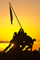 The Iwo Jima Memorial at sunrise (in Arlington, VA.)