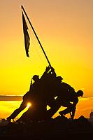 The Iwo Jima Memorial at sunrise (in Arlington, VA.)