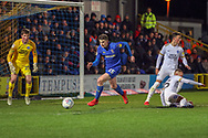AFC Wimbledon defender Steve Seddon (15) chasing ball in the box during the EFL Sky Bet League 1 match between AFC Wimbledon and Peterborough United at the Cherry Red Records Stadium, Kingston, England on 12 March 2019.