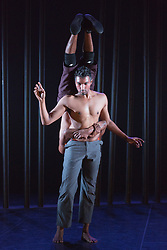 © Licensed to London News Pictures. 16/09/2015. London, UK. Front: Sooraj Subramaniam, back: Shailesh Bahoran. Dress rehearsal for the World Premiere of Shobana Jayasingh's new work Material Men performed by bharathanatyam soloist Sooraj Subramaniam and hip hop dancer Shailesh Bahoran at Queen Elizabeth Hall, Southbank Centre. Material Men premieres in a double bill with 2013 commission Strange Blooms on 16 September 2015 and then tours to Cheltenham, Brighton, Swansea and Aberystwyth. Photo credit: Bettina Strenske/LNP
