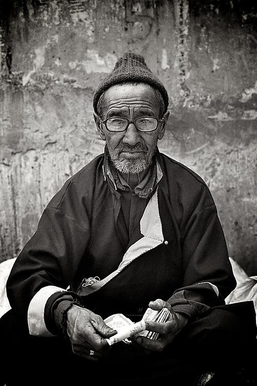 Portrait of Ladakhi man from Leh, Ladakh.<br /> Photo by Lorenz Berna