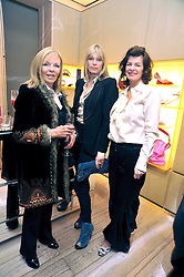 Left to right, ANNA COOK, DEBBIE LENG and SOPHIA CHARBONNEAU at a Champagne & chocolate party hosted by Roger Vivier at their store in Sloane Street, London on 12th February 2009.  The evening was in aid of The Silver Lining charity.
