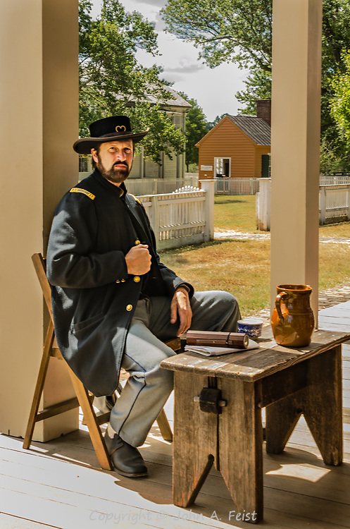 """We were at the Appomattox Court House national park on a very hot September day. This gentleman was the character interpreter for the military governor immediately after the surrender.  I'm scratching my head to remember the Captain's name.  He did a wonderful job in character.  We were advised to ask """"may I capture your image"""" or """"please strike a pose"""" because in the 1860s """"may I take your picture"""" would have been taken to mean I wanted to steal something!"""